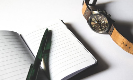 notebook and watch